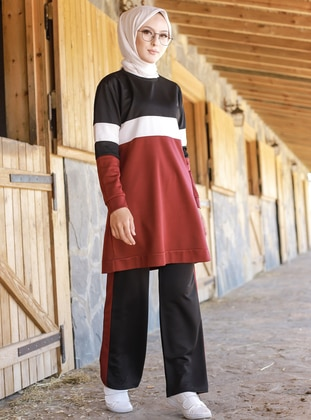 Maroon - Crew neck - Tracksuit Set - Sports