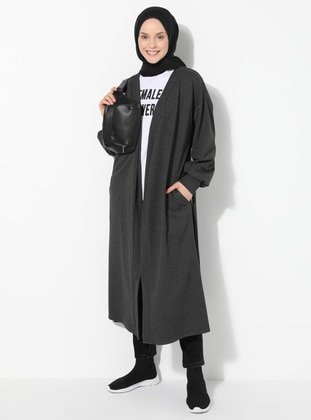 Anthracite - Unlined - V neck Collar -  - Topcoat