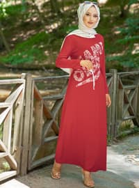 Maroon - Crew neck - Viscose - Dress
