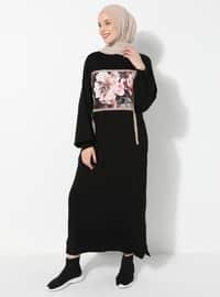 Siyah - Yuvarlak yakalı - Astarsız kumaş - - Elbise
