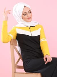 Yellow - Crew neck - Unlined -  - Dress -  Sports