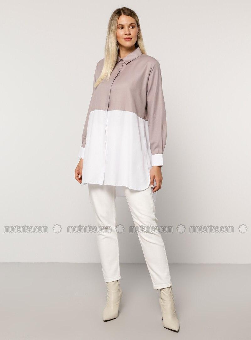 White - Lilac - Point Collar - - Plus Size Tunic