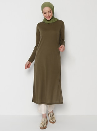 Khaki - Crew neck - Dress