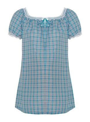 Blue - Sweatheart Neckline - Maternity Blouses Shirts