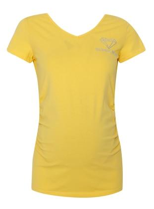 Yellow - Sweatheart Neckline - Maternity Blouses Shirts