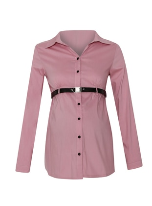 Pink - Point Collar - Maternity Blouses Shirts