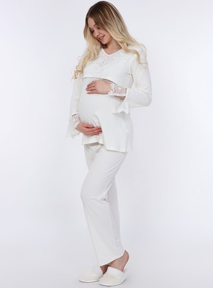 White - Ecru - Viscose - Maternity Pyjamas - Luvmabelly