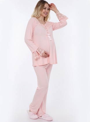 Pink - Viscose - Maternity Pyjamas - Luvmabelly