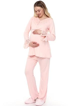 Pink - Viscose - Maternity Pyjamas - Luvmabelly