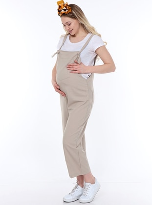 Beige - Unlined -  - Maternity Dress - Luvmabelly