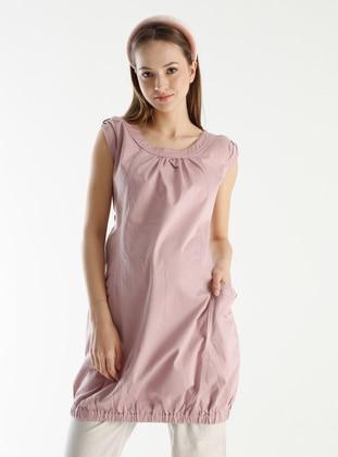Pink - V neck Collar - Maternity Tunic