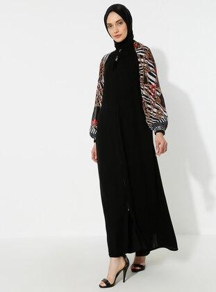 White - Black - Unlined - Crew neck - Abaya