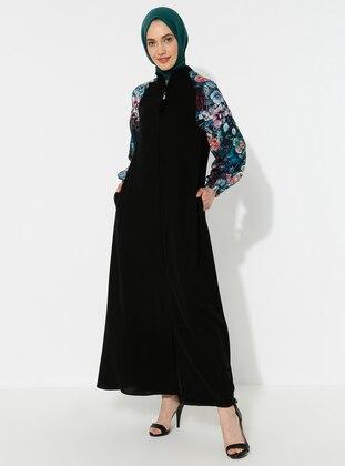 Black - Green - Unlined - Crew neck - Abaya