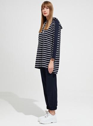 Navy Blue - Stripe - Unlined -  - Suit