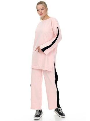 Pink - Powder - Crew neck - Unlined - Plus Size Suit