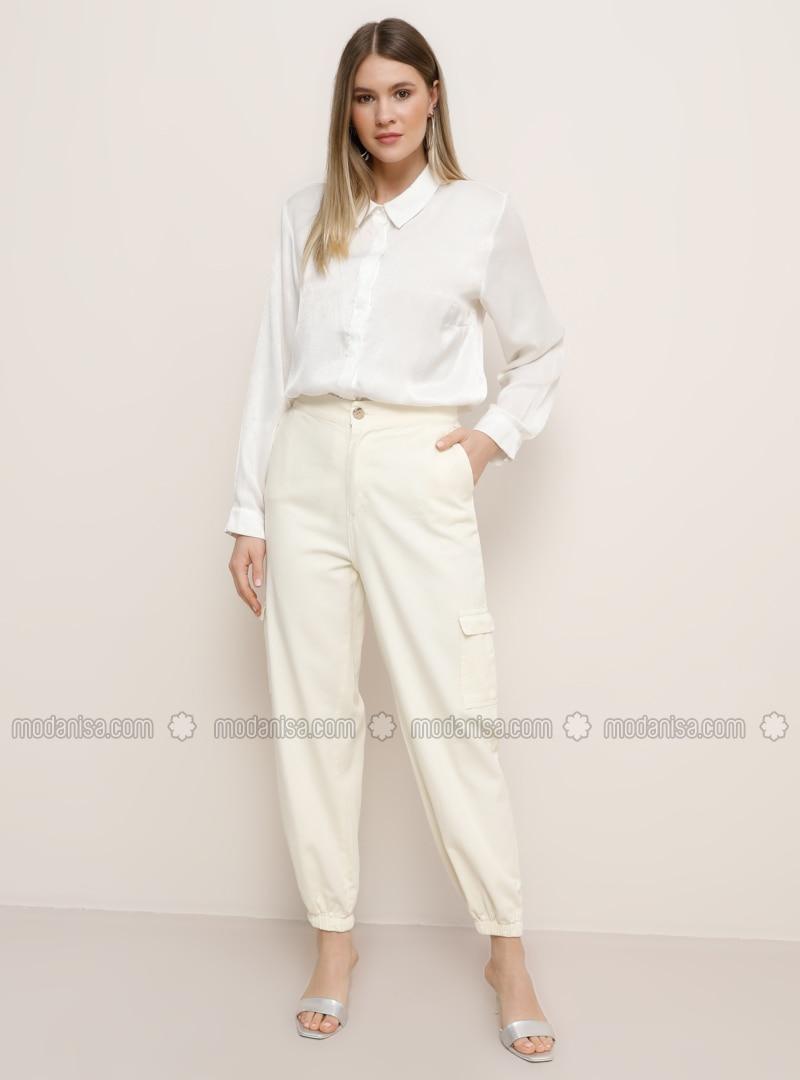 Ecru -  - Plus Size Pants