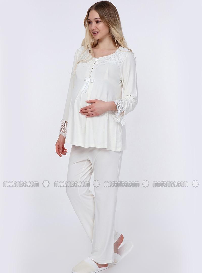 White - Ecru - Viscose - Maternity Pyjamas