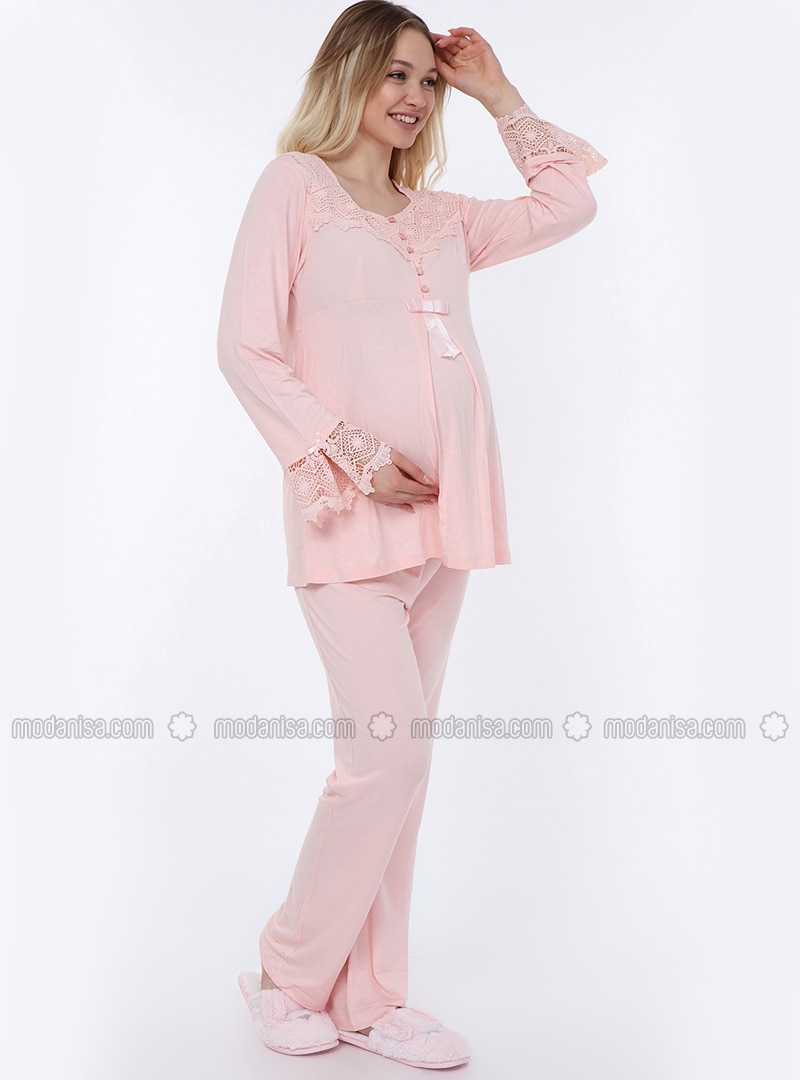 Pink - Viscose - Maternity Pyjamas