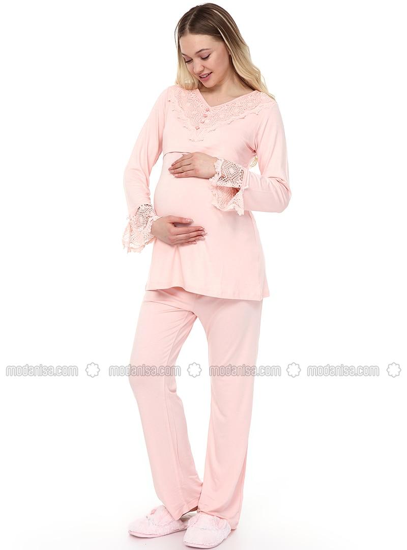 Pink - Viscose - Maternity Pyjamas