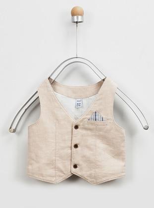 Stripe - V neck Collar - Linen - - Multi - Blue - Baby Vest