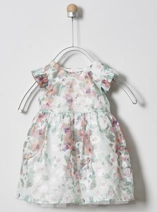 Multi - Crew neck - Multi - Mint - Baby Dress