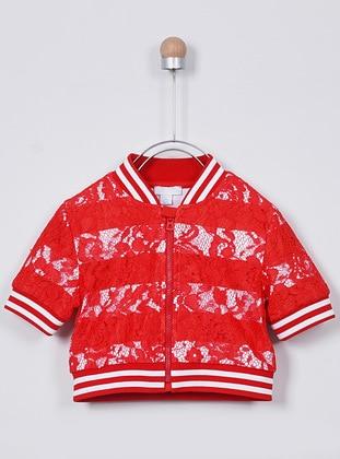 Crew neck - - White - Red - Girls` Sweatshirt