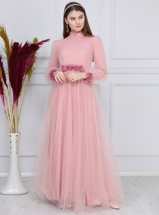 Pink - Floral - Fully Lined - Crew neck - Muslim Evening Dress