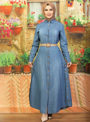 Blue - Round Collar - Unlined - Denim -  - Dress