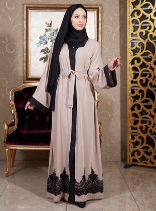 Beige - Unlined - V neck Collar - Abaya