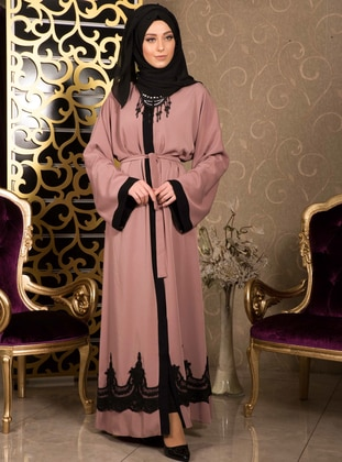Dusty Rose - Unlined - V neck Collar - Abaya