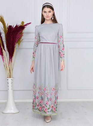 Fuchsia - Gray - Floral - Fully Lined - Crew neck - Muslim Evening Dress