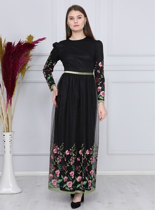 Fuchsia - Black - Floral - Fully Lined - Crew neck - Muslim Evening Dress