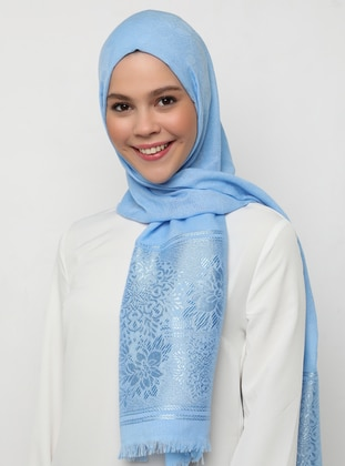 Blue - Plain - Jacquard - Shawl