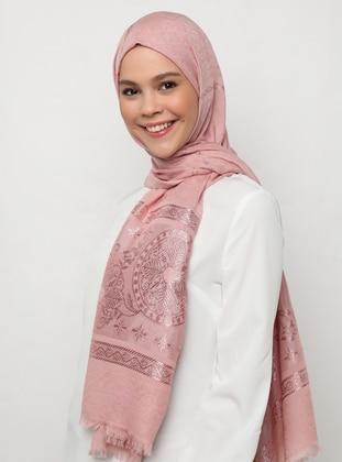 Pink - Plain - Jacquard - Shawl