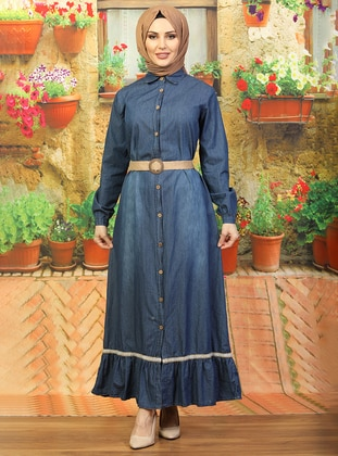 Blue - Round Collar - Unlined -  - Dress