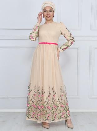 Fuchsia - Nude - Fully Lined - Crew neck - Muslim Evening Dress