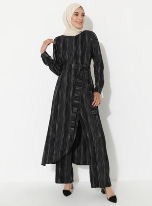 Black - Stripe - Unlined -  - Suit