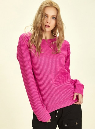 Pink - Crew neck -  - Blouses - Nare