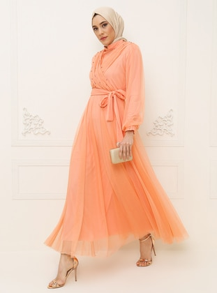 Salmon - Crew neck - Fully Lined - Dress