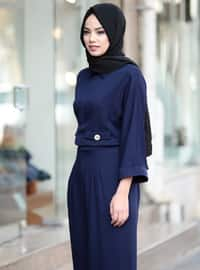 Navy Blue - Unlined - Point Collar - Jumpsuit