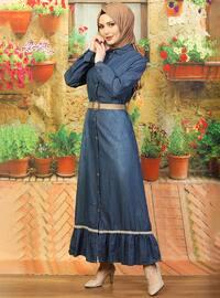 Mavi - Peter Pan yaka - Astarsız kumaş - - Elbise