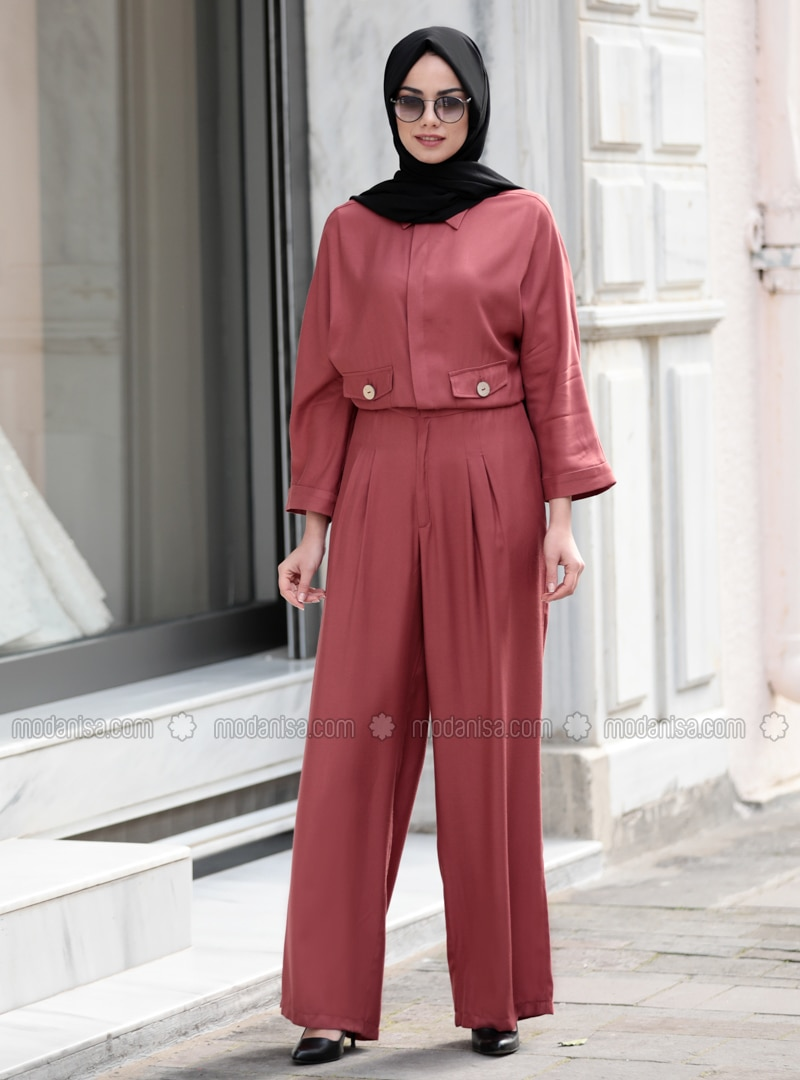 Dusty Rose - Unlined - Point Collar - Jumpsuit
