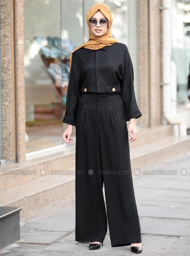 Black - Unlined - Point Collar - Jumpsuit