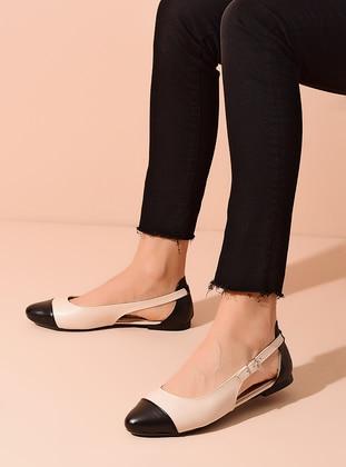 Beige - Black - Flat - Flat Shoes