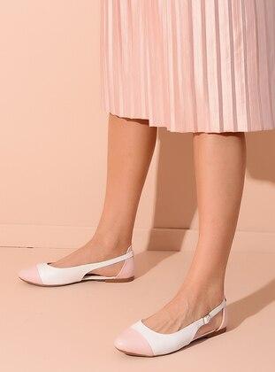 White - Powder - Flat - Flat Shoes