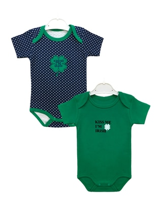 Green - Crew neck - Cotton - Multi - Green - Baby Suit