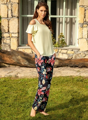 Yellow - Floral - Pyjama Set
