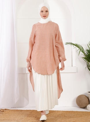 Tan - Crew neck -  - Maternity Tunic - İnşirah