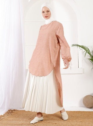 Tan - Crew neck -  - Maternity Tunic