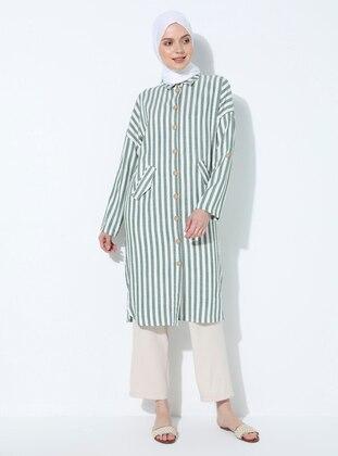 Green - Stripe - Point Collar -  - Tunic
